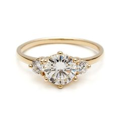 3 Stone Hazeline Engagement Ring white diamond three stone unique bridal – Anna Sheffield