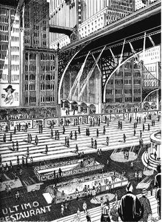 Moving sidewalks in the city of the future.