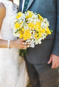 Bridal bouquet of yellow roses, calla lilies, craspedia, queen anne's lace // Lena Mirisola Photography