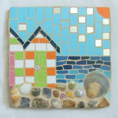 Beach and seaside mosaic tiles, suitable for home or garden decor. Mosaic Rocks, Mosaic Stepping Stones, Stone Mosaic, Mosaic Glass, Stained Glass, Glass Art, Garden Tiles, Mosaic Garden Art, Mosaic Tile Art