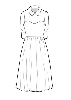 Technical Flat Sketches Panel Dress     Designersnexus on asymmetrical skirt