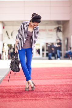 striped blazer + gray top + cobalt blue jeans