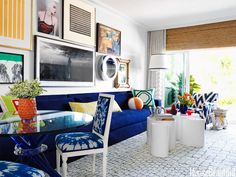 Bright accent colors pop against the blue-and-white palette.
