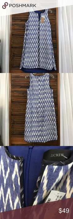 J. Crew dress NWT J. Crew tunic dress. Small v-neck. Blue & white. Invisible zipper in back. Size 10 NWT J. Crew Dresses