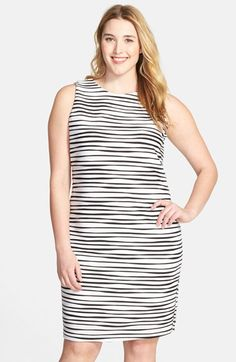 Calvin Klein Wavy Stripe Tiered Jersey Dress (Plus Size) available at #Nordstrom