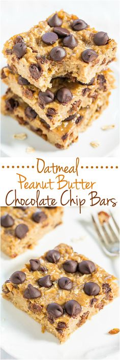 Oatmeal Peanut Butter Chocolate Chip Bars - So much better than a bowl of plain oatmeal!! Easy, portable bars perfect for snacks or breakfast on-the-go!!