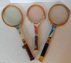 Lot of 3 Vintage Wooden Wilson Wood Tennis Racquets Rackets, Youth & Adult Set #Wilson