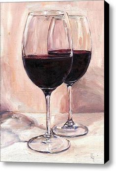 Red Wine For Two /  Stretched Canvas Print / Canvas Art / oil painting by Hannah Henry / Red Wine Glasses