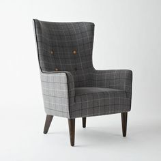 Perfect Plaid for Fall // Buttoned Victor Chair in Grey Wool, luxury furniture by West Elm.