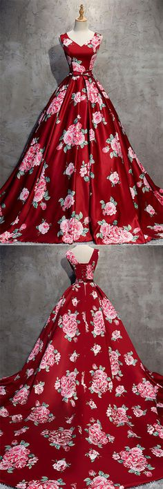 Burgundy v neck satin long prom dress, burgundy evening dress