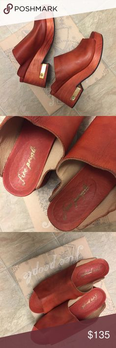 Free People Clog Orange Moon New with box Free People Clog Orange Moon. Size 8.  Aurora red. Free People Shoes