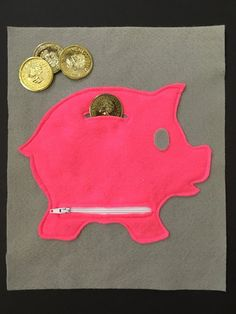 Piggy Bank Quiet Book Page Felt Book Busy by ThePinkPenguinShop