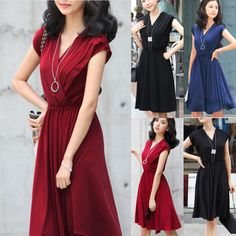 NEW Womens Cocktail Evening Elegant Chiffon Deep V-neck Gowns Party Sexy Dress #AllegraK #Casual