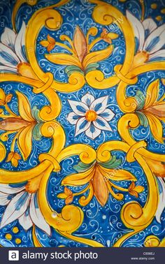Detail of tyical Sicilian decorated majolica ceramic - Erice Italian Pattern, Paisley Art, Tuile, Clay Design, Italian Art, World Of Color, Hand Painted Ceramics, Pattern Art, Fine Art America