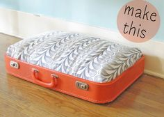 Upcycled Suitcase Pet Bed.  We had these orange suitcases!  Hope mom still has!