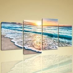 "Huge High Quality Giclee Prints On Canvas Contemporary Landscape Beach Ocean Extra Large Wall Art, Gallery Wrapped, by Bo Yi Gallery 67""x36"". Huge High Quality Giclee Prints On Canvas Contemporary Landscape Beach Ocean Subject : Beach Style : Photography Panels : 4 Detail Size : 16""x32""x2,16""x24""x2 Overall Size : 67""x36"" = 170cm x 91cm Medium : Giclee Print On Canvas Condition : Brand New Frames : Gallery wrapped [FEATURES] Lightweight and easy to hang. High revolution giclee..."
