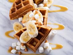 If you love a peanut butter and banana sandwich then these from-scratch waffles are going to be your new favorite breakfast!