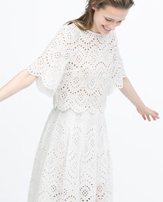Image 1 of CROPPED EMBROIDERED LASER-CUT TOP from Zara