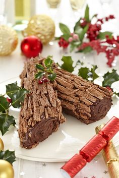 Chocolate Buche de Noel - This traditionally sweet French dessert is rolled, filled and served at Christmas. Christmas Tea, Christmas Sweets, Christmas Cooking, Christmas Goodies, Christmas Cakes, French Christmas, Christmas Entertaining, Woodland Christmas, Holiday Treats