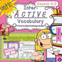 Inter-Active Vocabulary Grade 3-5 [Task Cards][Grammar][Language]   Unit 1C - There are 8 keywords in this packet and three different sets of TASK CARDS: Part-of-Speech, Definition, and Sentence Completion. The Task Cards are suitable for use in Learning Centers/Stations, can be projected for group learning, www.imLHL.com