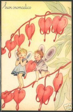 vintage postcard fairies with bleeding hearts  valetine?