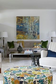 sarah richardson sarah 101 living room neutral bold floral ottoman