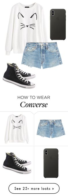 """Sem título #472"" by anna-bergamo on Polyvore featuring RE/DONE, Converse and Apple"