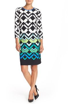Eliza J Geometric Print Jersey Shift Dress (Regular & Petite) available at #Nordstrom