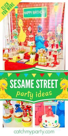 Sesame Street parties filled with bright colors, ABC's and 123's are sure to delight all young boys out there that love the characters and everything about the show. As with other classic themes, that continue to be popular year after year, Sesame Street is one of those themes that will be around as long as kids continue to be fans. See more party ideas and share yours at CatchMyParty.com Prince Birthday Party, 1st Boy Birthday, Boy Birthday Parties, Sesame Street Party, Sesame Street Birthday, Fun Party Themes, Party Ideas, Farm Themed Party, Cookie Monster Party