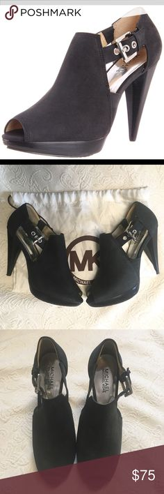 95548456dc36 MICHAEL Michael Kors Greenwich Peeptoe Booties Black suede peeptoe booties  in fabulous condition. Only worn a couple times.