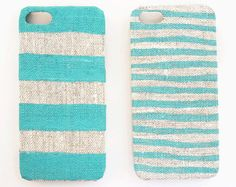 Iphone 5 case mint stripes on natural linen by STARCREATUREstudio, $18.90