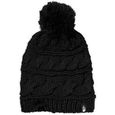 The North Face Women's Triple Cable Pom Beanie ($30) ❤ liked on Polyvore featuring accessories, hats, tnf black, black beanie, cable knit beanie hat, black hat, pom pom hat and pom beanie