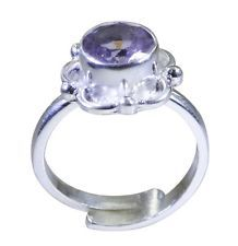 marvelous Amethyst 925 Sterling Silver Purple Ring handcrafted L-1in US 5678