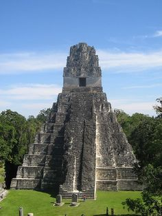 Grand Jaguar Pyramid at Tikal mayan ruins,. - Grand Jaguar Pyramid at Tikal mayan ruins, Guatemala (by rodolfo obando). Grand Jaguar Pyramid at T - Tikal, Places Around The World, Oh The Places You'll Go, Places To Travel, Places To Visit, Travel Destinations, Belize, Mayan Ruins, Ancient Ruins