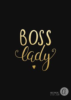Boss Lady Black and white Faux Gold Print Faux by AbbieImagine