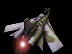Custom Hand-Crafted 3D Model Spaceship, rear view, with light.