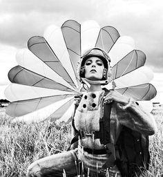 Model Mirella Petteni with parachute, 1963 by FCGundlach