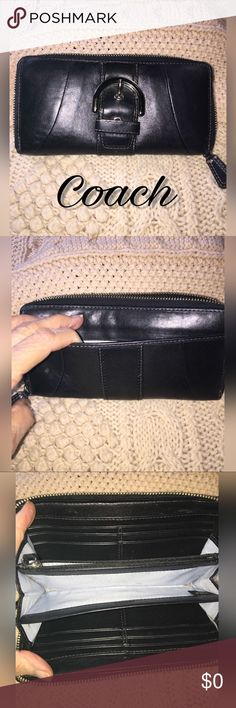 Accordion Wallet Black leather with silver buckle and zipper    This wallet has been used a lot ( by me). I take care of my wallets and bags so it is really just broken in.  Very good used condition. Coach Bags Wallets