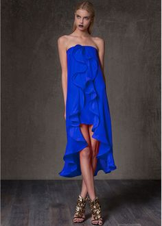 Alexis Musa Dress with Ruffles in Royal Blue