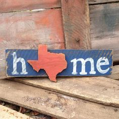 Home sign with a state shape cutout. This sign made with wood boards and distressed to look vintage. Hand painted in your choice of colors. Show