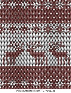 Seamless vector knit background, deers, jacquard pattern