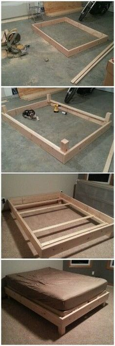 Original bed frame built from scratch for $60 in 4 hrs then stain the color you want Build Bed Frame, Folding Bed Frame, Making A Bed Frame, Wood Bed Frames, Futon Bed Frames, Wood Beds, Boho Bed Frame, Diy King Bed Frame, Pattern Drawing