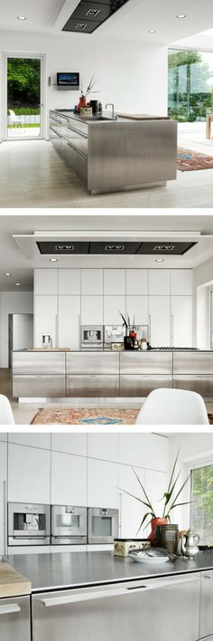 Kücheninsel mit grifflosen Fronten in Beton Dekor küchen Pinterest - laminat für küchen