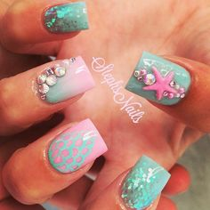 Pretty Ocean Nails via Ocean themed nail arts are widespread all the 12 months round. The ocean manicure brings a contemporary vibe to your nails by utilizing blue polish pr. Fancy Nails, Love Nails, How To Do Nails, Pretty Nails, Ocean Nail Art, Vacation Nails, Mermaid Nails, Beach Nails, Cute Nail Art