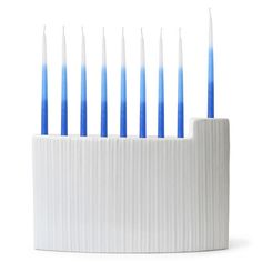 Modern Menorah  A simple form accented with rippling texture and a matte white glaze. Crafty Minimalism. $68 & free shipping!
