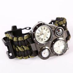 Survival Rescue Rope Bracelet Flint Fire Starter Gear 6 in 1 Survival Flint Fire Starter Survival Gear Buckle Watch Paracord