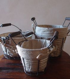burlap lined wire baskets