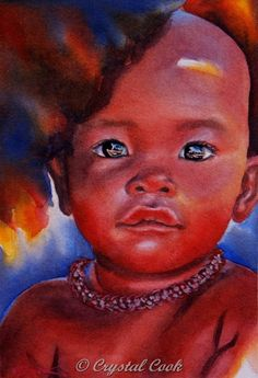 African Child Portrait watercolor original by CrystalCookArt,