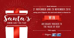 The promotion ends tomorrow! Book now using your Edgars or Jet card and win a R50 Edgars gift voucher! Book now https://www.citiliner.co.za/