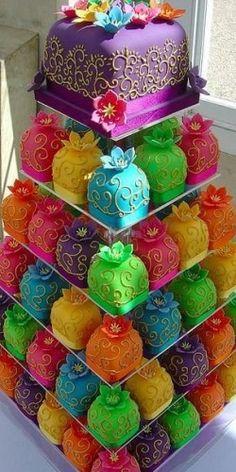 rainbow pyramid of cakes